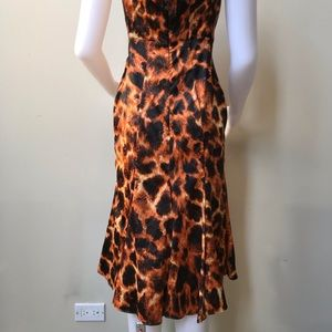 CAVALLI Animal Print Bustier Midi Dress size 44
